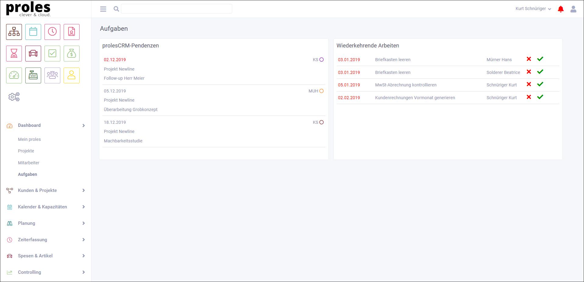 proles - Release 4 - Dashboard - Aufgaben