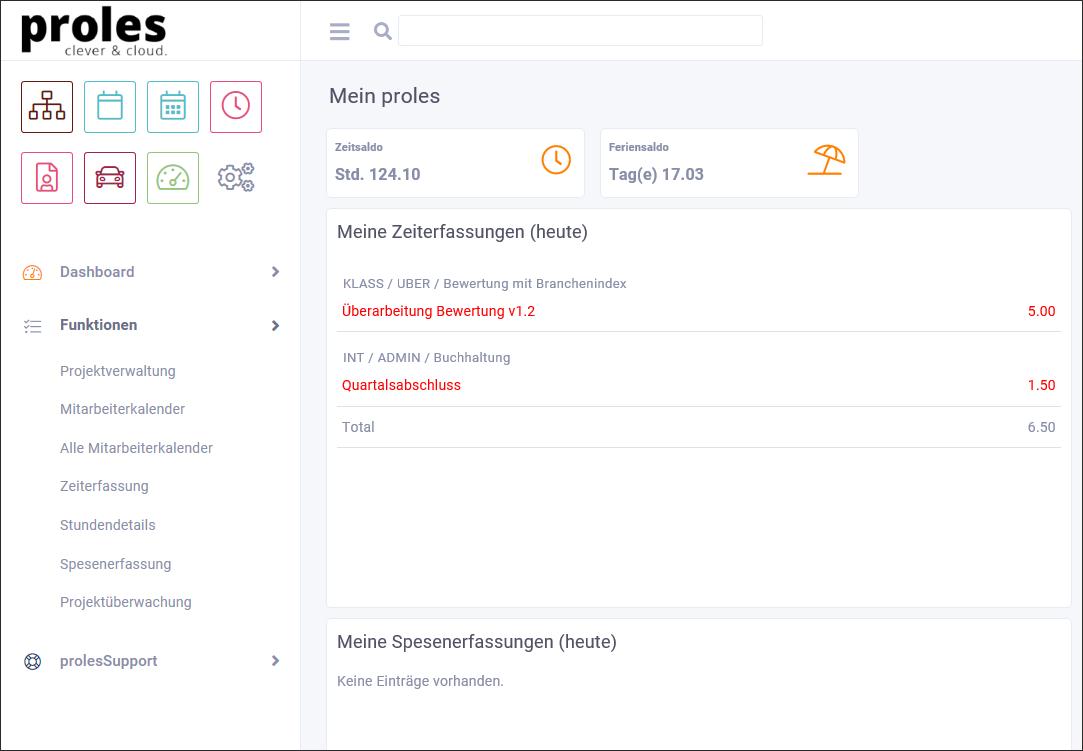 proles - Release 4 - Navigation - Beispielansicht mit Profil User