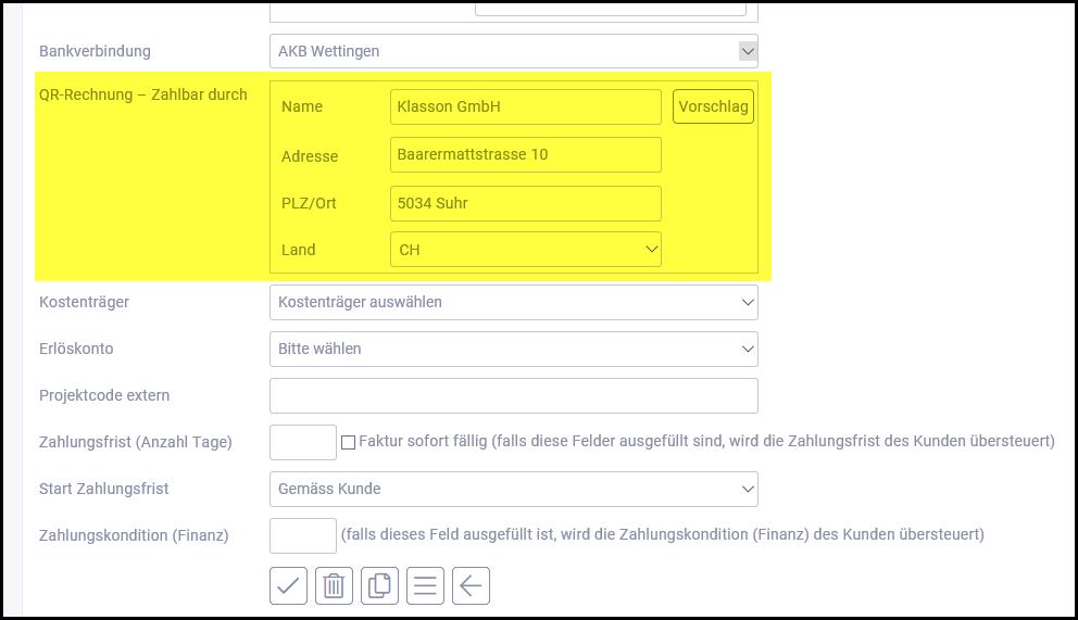 proles - Projektverwaltung - Projekt bearbeiten - QR-Rechnung - Zahlbar durch