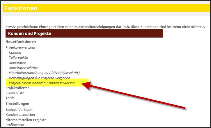 proles - Funktionsberechtigungen - Projekt einem anderen Kunden zuweisen