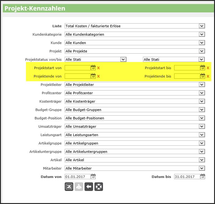 proles - Projekt-Kennzahlen - Projektstart - Projektende