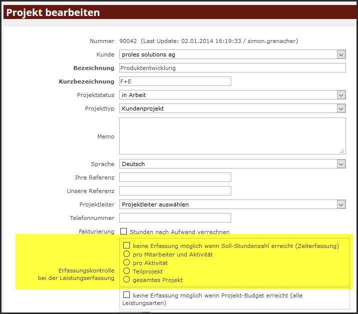 proles - Projektverwaltung - Projekt bearbeiten - Erfassungskontrolle bei der Leistungserfassung