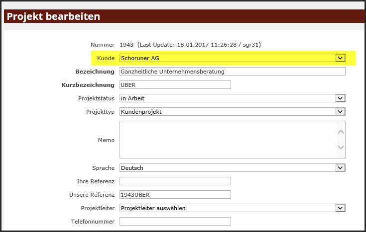 proles - Projektverwaltung - Projekt bearbeiten - Kunde ändern