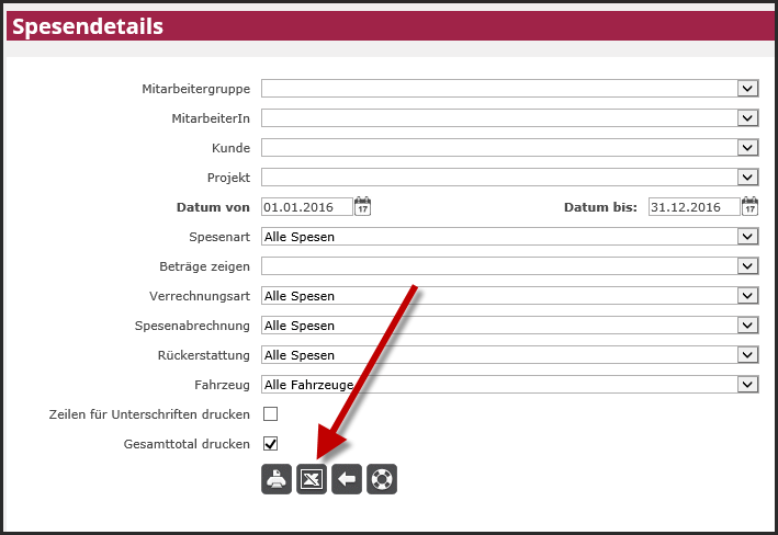 proles - Spesendetails Mitarbeiter - Excel-Export