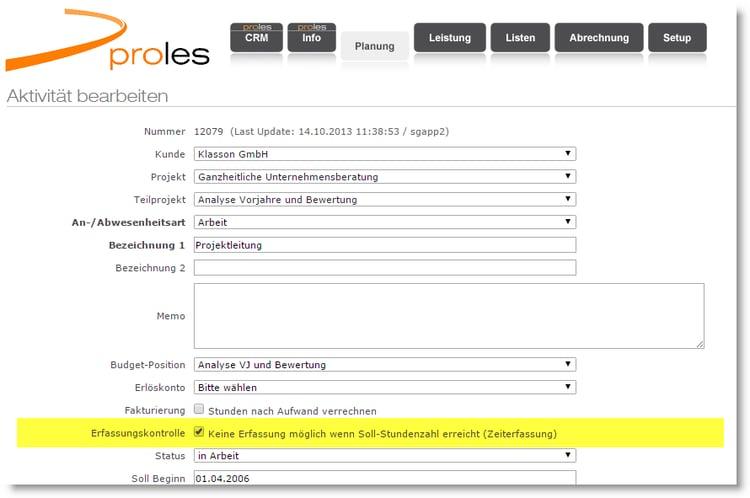 proles - Projektverwaltung - Aktivität bearbeiten
