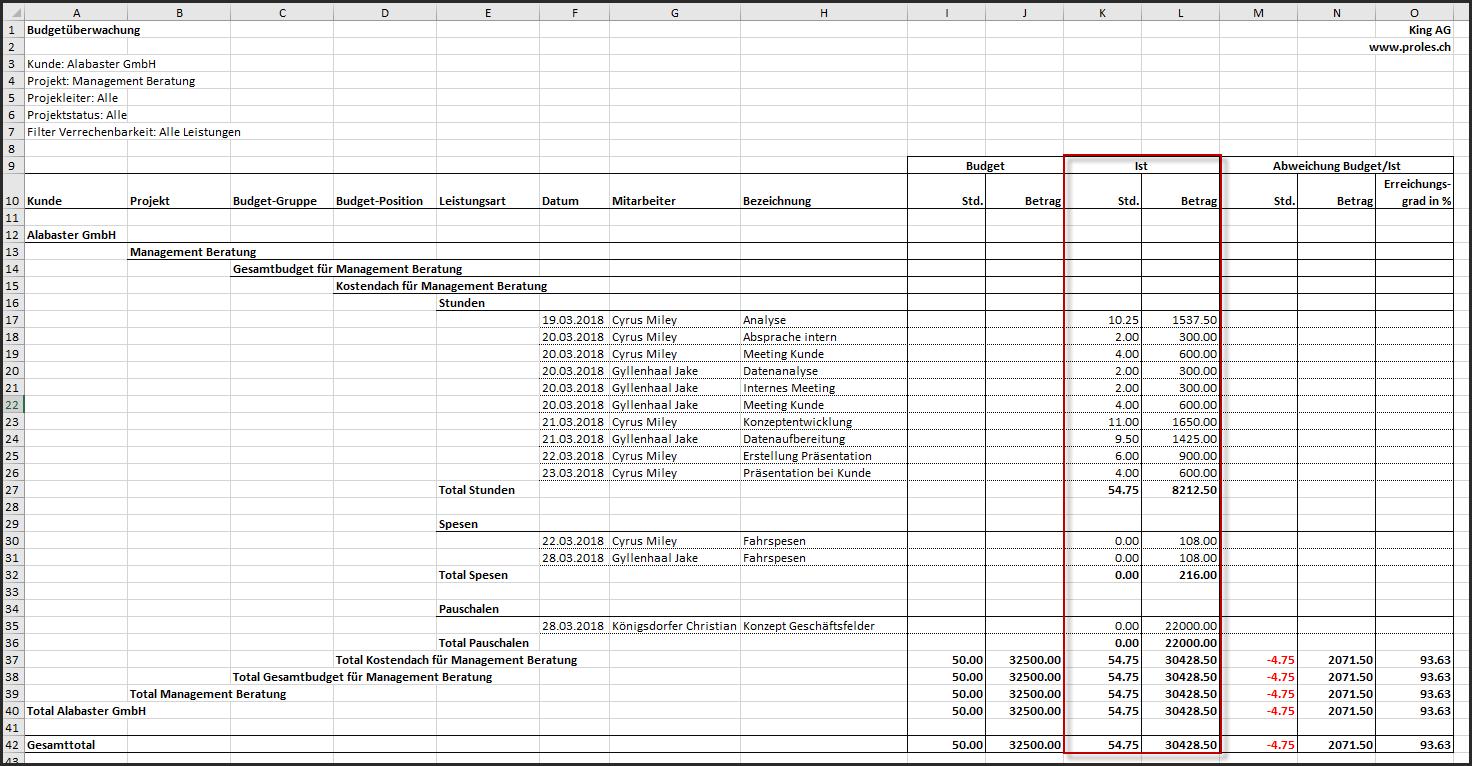 proles - Budgetüberwachung - Ausgabe der IST-Daten