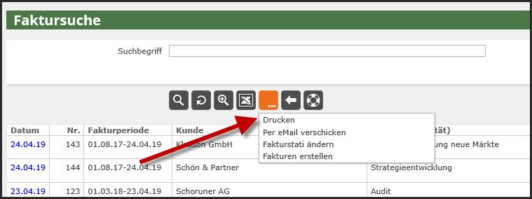 proles - Fakturversand per eMail - Fakturierung - Faktursuche - Drucken
