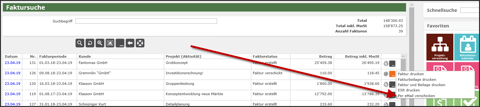 proles - Fakturversand per eMail - Fakturierung - Faktursuche - Per eMail verschicken - Einzelne Faktur