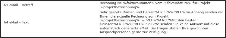 proles - Fakturversand per eMail - Programmtexte - Übersicht
