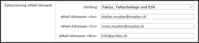 proles - Fakturversand per eMail - Projektverwaltung - Einrichtung eMail-Versand