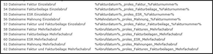 proles - Programmtexte - Faktur - Dateinamen