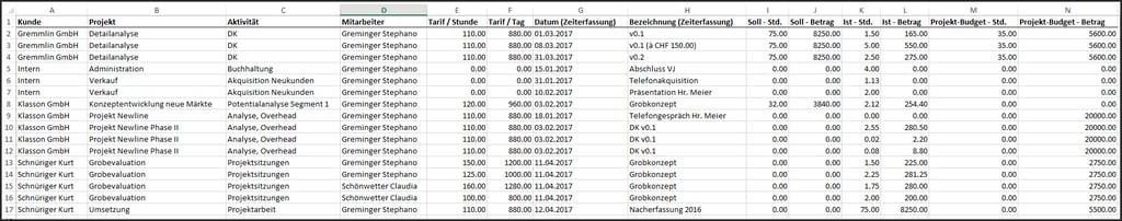 proles - Projektüberwachung - Excel-Export - Rohdaten