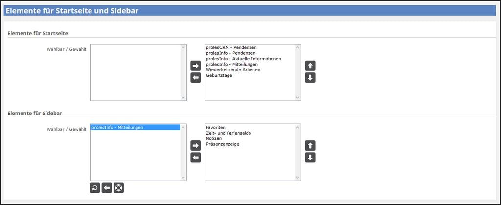 Einstellungen Startseite und Sidebar / Sidebar einrichten