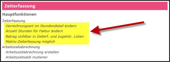 proles - Zeiterfassung - Einrichtungsarbeiten - Spezielle Funktionsberechtigungen - Übersicht