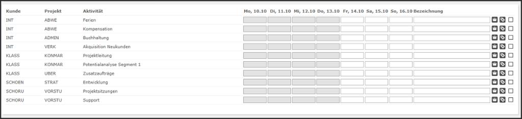 proles - Zeiterfassung - Matrix-Zeiterfassung - Aktivitäten für die Zeiterfassung