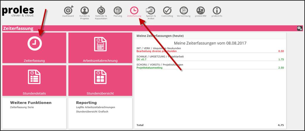 proles - Zeiterfassung - Programmstart - Via Anwendungsstartseite