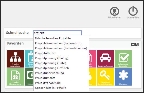 Sidebar - Schnellsuche - Beispiel Projekt
