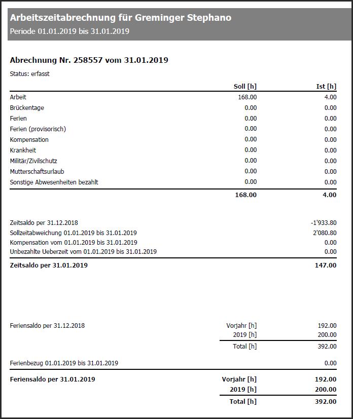 proles - Arbeitszeitabrechnungen - Gedruckte Arbeitszeitabrechnung