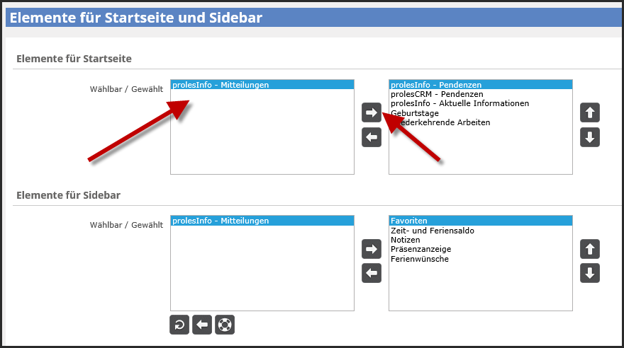 proles - Elemente für Startseite und Sidebar - prolesInfo - Mitteilungen