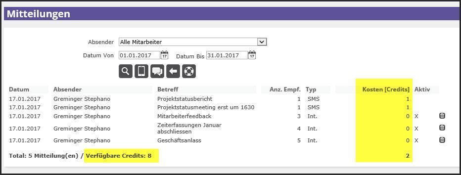 proles - Mitteilungen - Übersicht - Kosten (Credits) - Verfügbare Credits