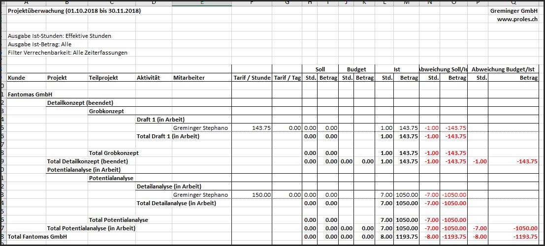 proles - Projektüberwachung - Excel-Export