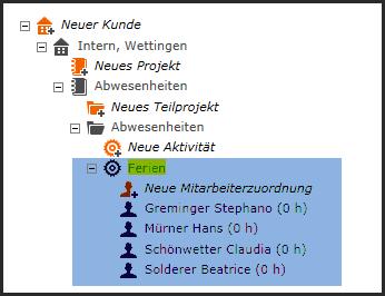 proles - Projektverwaltung - Mitarbeiterzuordnungen Übersicht