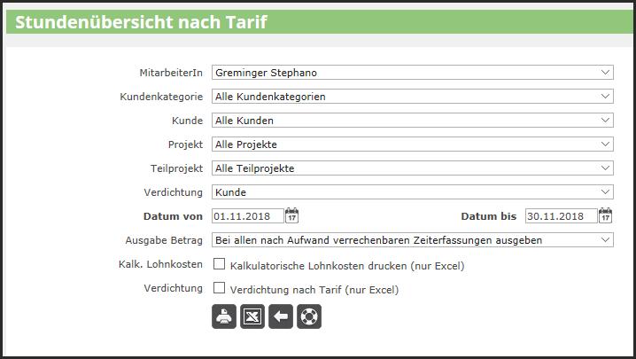 proles - Stundenübersicht nach Tarif - Listenabruf