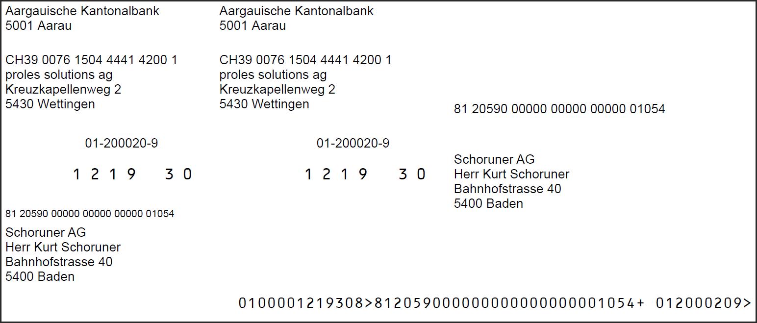 proles - prolesFinanz - Einzahlungsschein (ESR)